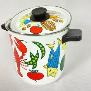 Vintage San Ignacio Kitsch enamelware stock pot